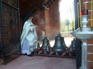 Освящение и установка колоколов на колокольне